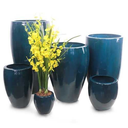 Vaso Esmaltado Fibra Jardim - azul verniz