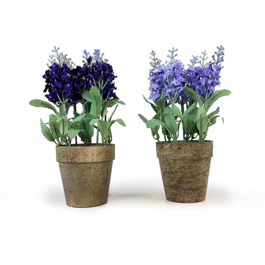 Vaso de lavanda artificial 20cm nature flores for Lavanda coltivazione in vaso