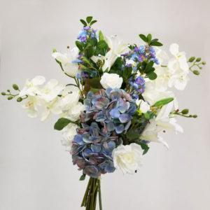 foto do Kit Floral Artificiais para confecção de Arranjo de Festa em tons de azul.