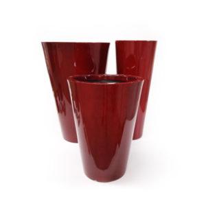 Foto com 3 Vasos Dixie Cônico Alto na cor Vermelho Royal